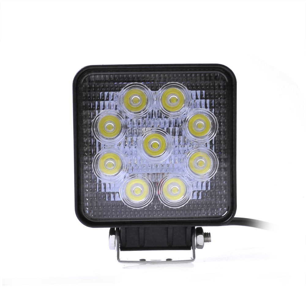 1PC Car Motorcycle Boat 27W Square LED Work Spot/Flood Daytime Running Light Driving Lamp White for Offroad Universal f018f 18w type f 1260lm 6000k flood white 6 led square work light bar for car boat