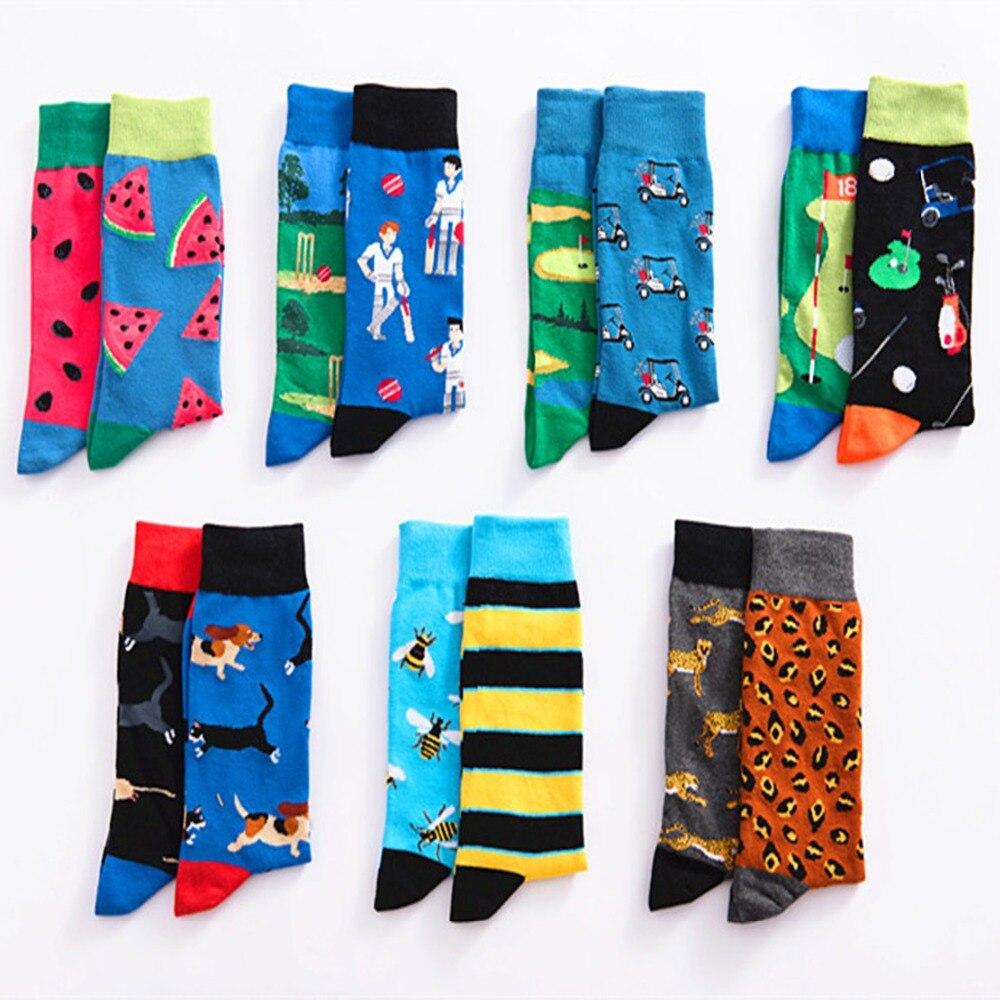 Men Cool Happy   Socks   AB Animal Sokken Warm Wedding Crew   Socks   Colorful Long Funny   Socks   Hip Hop Couple Gifts Chaussette Homme