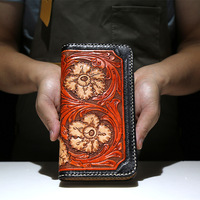 Women Genuine Leather Card Holder Carving Flowers Plants Wallets Bag Purses Men Clutch Vegetable Tanned Leather Long Wallet