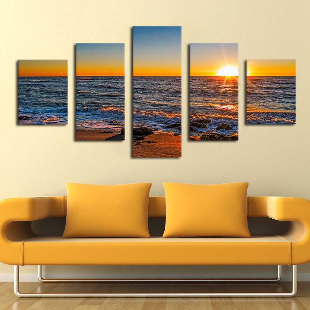 NO FRAME 5 Panels Wall Art Pictures Romantic Beach Lovely Bridge ...
