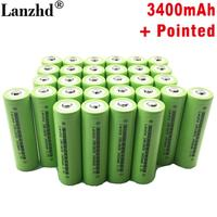 (8 40pcs)New Battery 18650 li ion 3.7v 3400mah 30A Lithium Rechargeable Battery INR18650B with Pointed For flashlight batteries