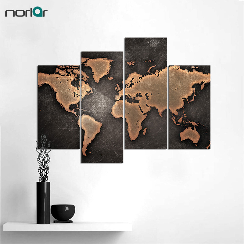 5 pcs modern world map canvas wall art painting black background 5 pcs modern world map canvas wall art painting black background canvas painting forliving room and office decor frameless free shipping worldwide gumiabroncs Images