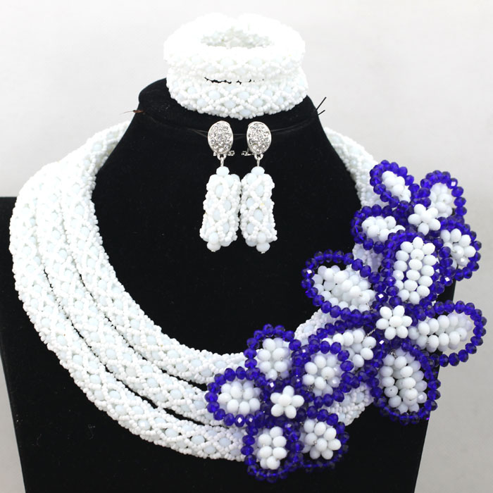 Graceful White African Costume Wedding Jewelry Set Big Flower Crystal Flower Brooch Statement Necklace Set For Women Gifts QW501 цена 2017