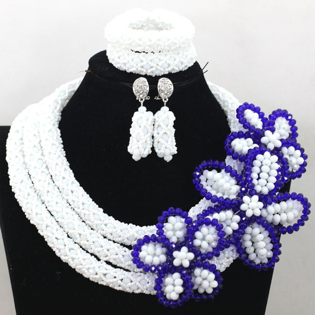 Graceful White African Costume Wedding Jewelry Set Big Flower