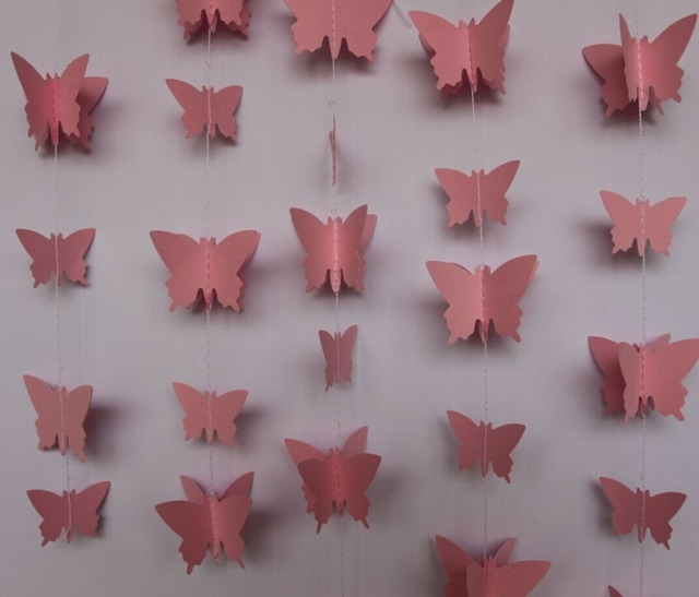 2pieces Lot 5 Ft Paper Butterfly Garland Pink Wedding Hanging Decor 3D