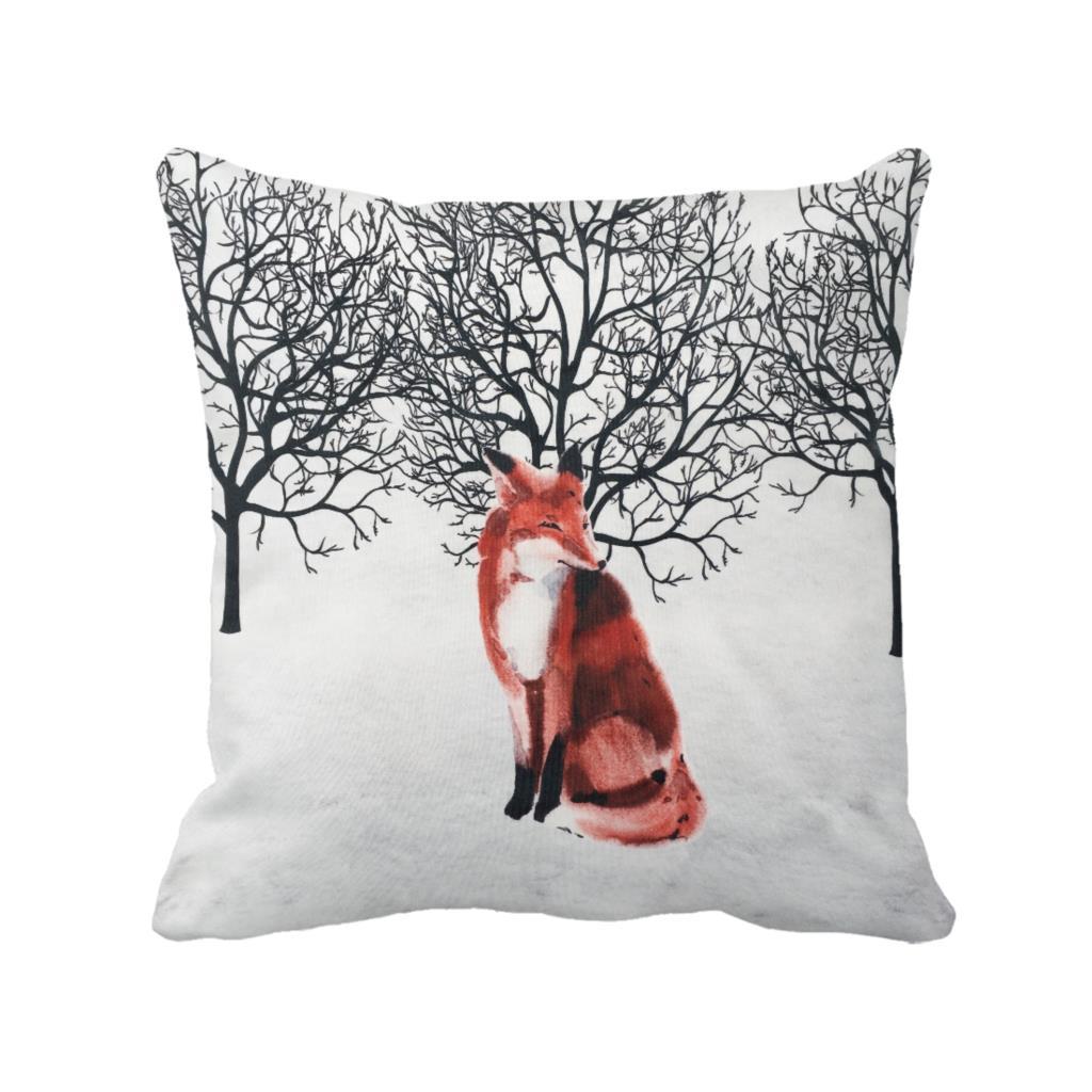 Winter snow font b forest b font watercolor fox cushion custom throw