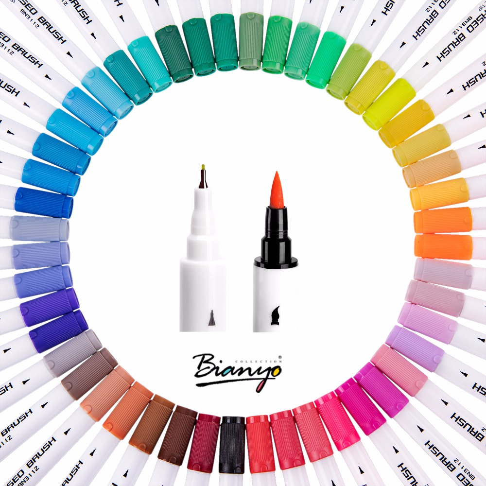 Bianyo Watercolors brush Pen Colored Markers 48 Colors Marker Art Pens Sketch Drawing For Stationery School Supplies Markers