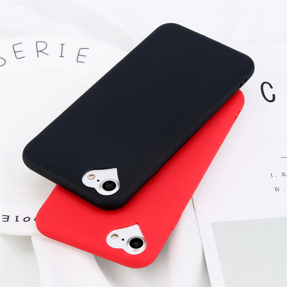 KSTUCNE Phone Case For iPhone 6 6s 7 8 Plus 5 5s SE Fashion Candy Solid Color Love Heart Soft Silicone For iPhone 8 Phone Case(China)