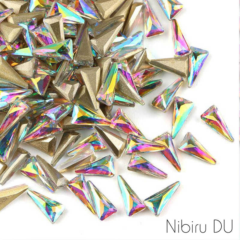 20 pcs New Triangle Shape Crystal AB Rhinestones For DIY Manicure Glass Nail Art 3D Decoration Design