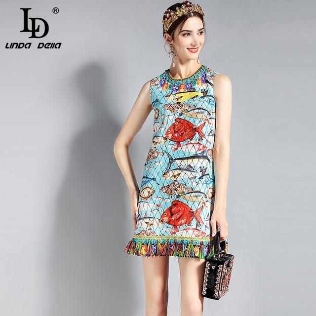 54f0ab290cf9e LD LINDA DELLA New 2018 Fashion Runway Summer Dress Women's Sleeveless  Charming Seabed Fish Print Tassel Beading Elegant Dress