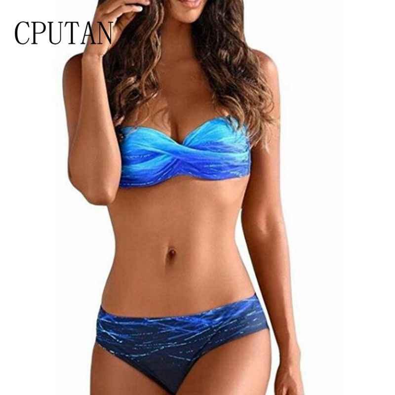 33aef8c63e Plus Size 2019 Push up Swimsuits Women Bandeau Large Size Swimwear Female  Sexy Gradient Bikini set
