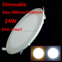 10pcs/lot Ultrathin Recessed Mounted 24W AC85~265V Dimmable LED Ceiling light Cold /warm white LED Down light Round Panel
