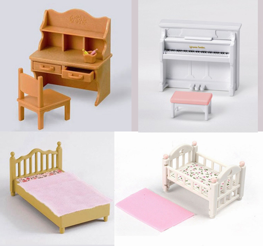 Plastic 1 12 Dollhouse Mini Toy Sylvanian Families Furniture Set Baby Bed Bed Desk Piano