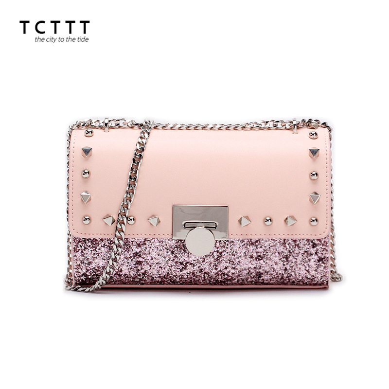 TCTTT High Quality Rivet women's Shoulder bags Fashion Cowskin leather Crossbody bag for ladies Luxury designer colorful Handbag tcttt luxury handbags women bags designer fashion women s leather shoulder bag high quality rivet brand crossbody messenger bag