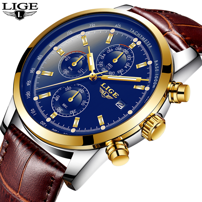 LIGE Watch Men Fashion Sport Quartz Clock Mens Watches Top Brand Luxury Business Leather Waterproof Gold Watch Relogio Masculino lige mens watches top brand luxury man fashion business quartz watch men sport full steel waterproof clock erkek kol saati box