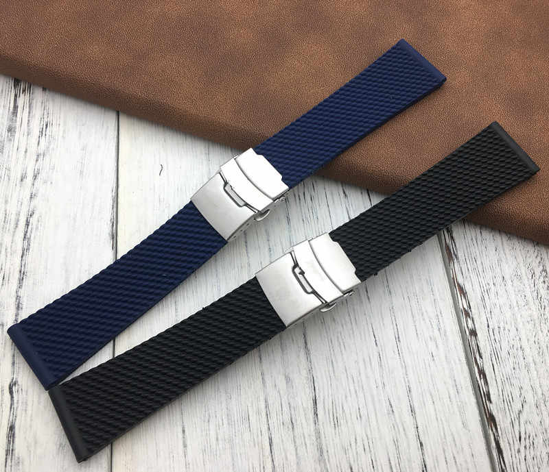 Top black dark Blue rubber silicone Watch Band Watchband For Breitling strap for Avenger/navitimer world belt 22mm buckle tools