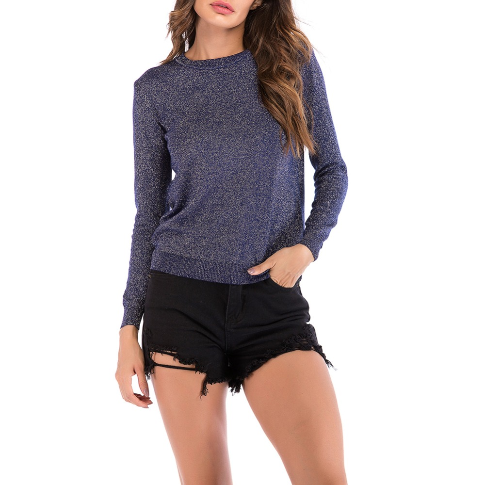 Shiny Lurex Autumn Winter Sweater Women Long Sleeve Pullover Round Neck Women Basic Sweater 2018 Korean Glitter Knit Top QH1891
