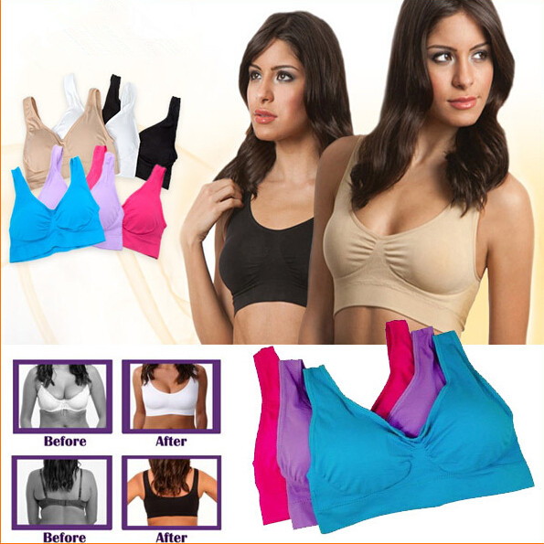 3Pcs/set 2016 Womens Padded Crop Top Shapewear Absorb Sweat Chic Vest Sport Running Yoga Gym Fitness Bras