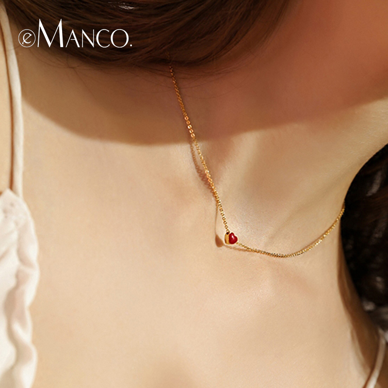 e-Manco Red Heart Necklace for Women 2018 New Arrival Romantic Statement Necklaces Enamel Fashion Jewelry Women Accessories