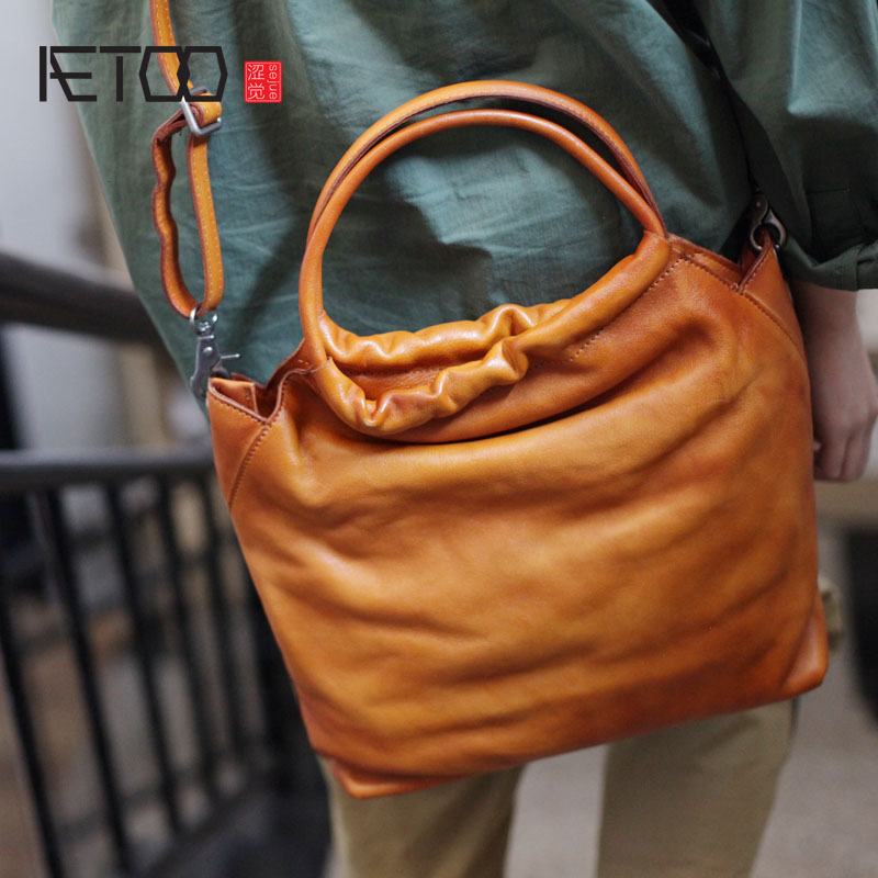 1f9d61fde2 AETOO Literary retro handbag female mother section national wind handmade  cowhide large capacity soft leather shoulder