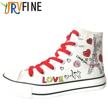 YJRVFINE Classic Lovers Eiffel Tower Hand Painted Casual Shoes Woman Outdoor Walking High Top Canvas Shoes Girls Graffiti Shoe
