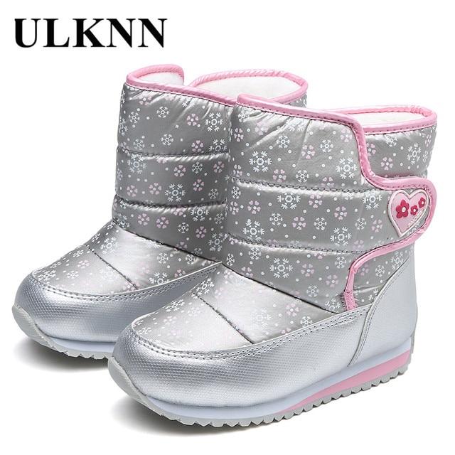 ULKNN/зимние ботинки для мальчиков и девочек с шерстяной подкладкой, зимние ботинки для детей, непромокаемые ботильоны из ткани Оксфорд, детская обувь, нескользящая обувь