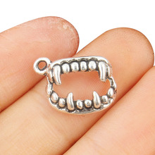 TJP 20pcs Scary Vampire Teeth Fangs Charms Pendants Beads Antique Silver Tone for DIY Bracelets Jewelry Making Findings 16x12mm