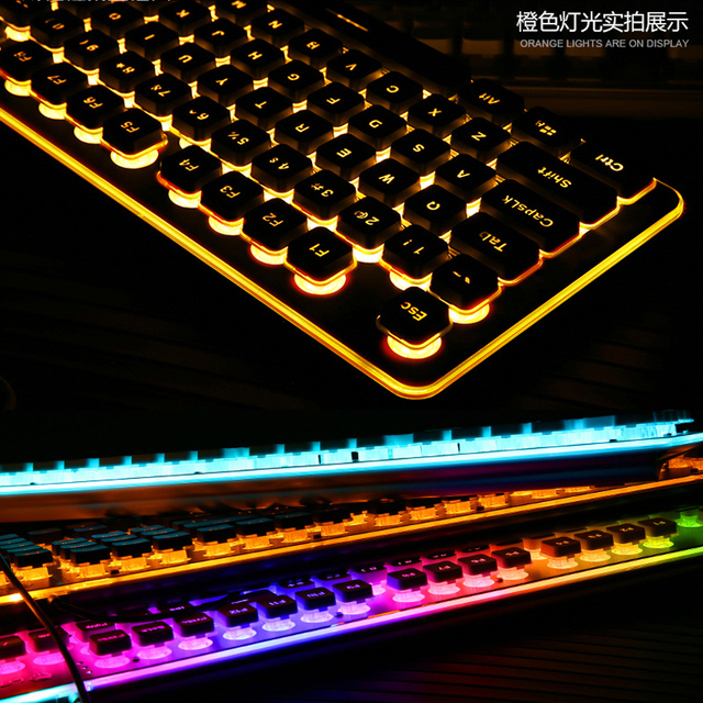 Gaming Keyboard 104 Keycaps RGB Backlit Waterproof Silent Keyboard Computer Gamer USB Wired For Desktop Laptop 5