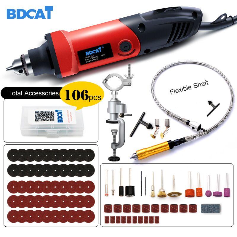 BDCAT 400 W mini taladro grabador herramienta rotativa herramienta eléctrica Mini amoladora de ángulo herramienta Dremel con 0,6-6,5mm flexible eje y accesorios