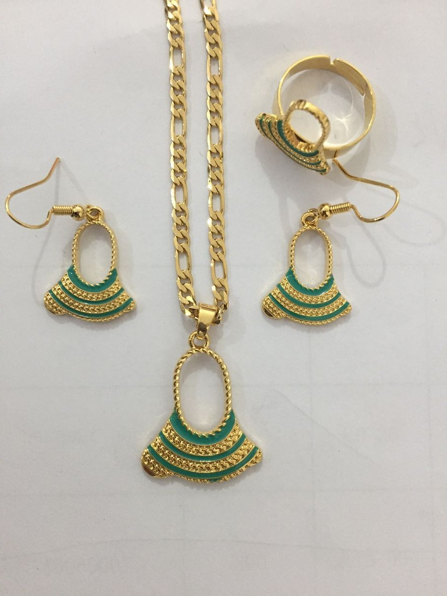 axe bag Pendant Chain Necklaces Earrings ring Gold Color PNG Jewellery Set Papua New Guinea Wedding party women girls gifts