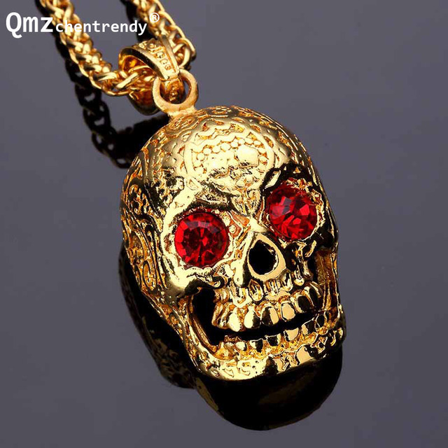 Hip hop golden skull head pendants necklaces with red stone eyes gem hip hop golden skull head pendants necklaces with red stone eyes gem ghost wings crystal skull mozeypictures Images