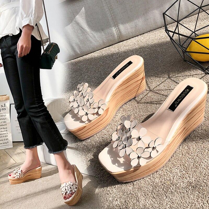 Kmeioo chaussures de loisirs femme sandales à fleurs bout ouvert chaussures à semelles compensées PVC Transparent talons hauts femmes tenue décontractée chaussures