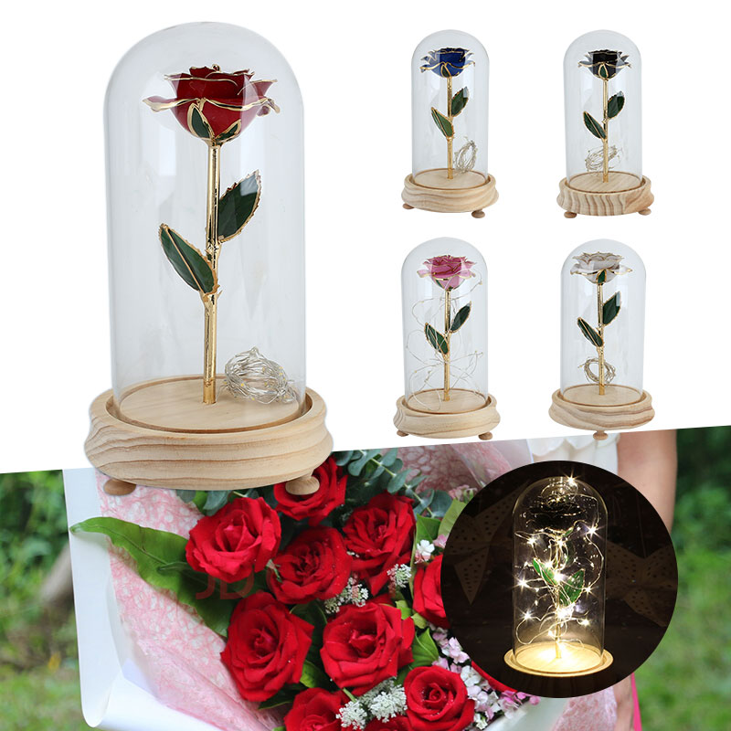 Rose Glass Cover Preserved Fresh Flower LED Flashing Ceramic Rose Flower Decorate Ornamental Luminous Home Decor Valentine's Day