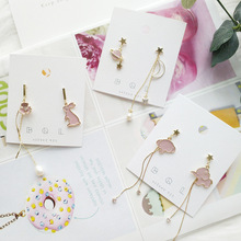 Women Drop Dangle Earrings Anti-allergy Cute Cartoon Rabbit Elephant Star Korea Handmade-JQD5
