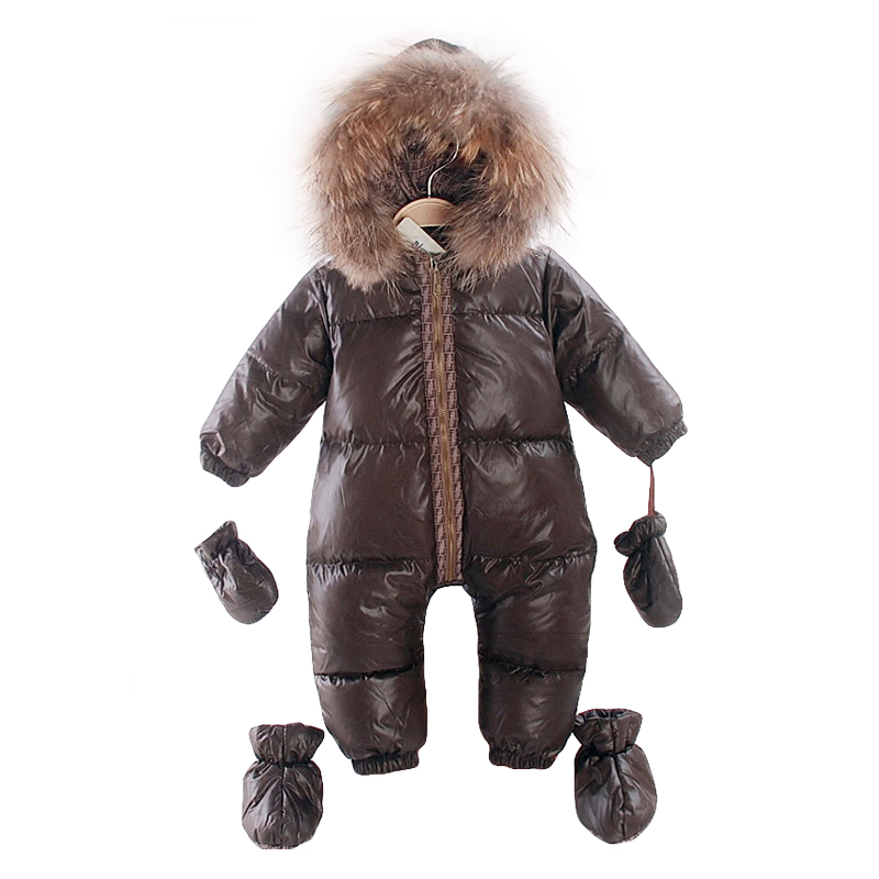 2017 russian winter natural fur rompers baby boy clothes newborn down jumpsuit infant thick warm outerwear girls snowsuits