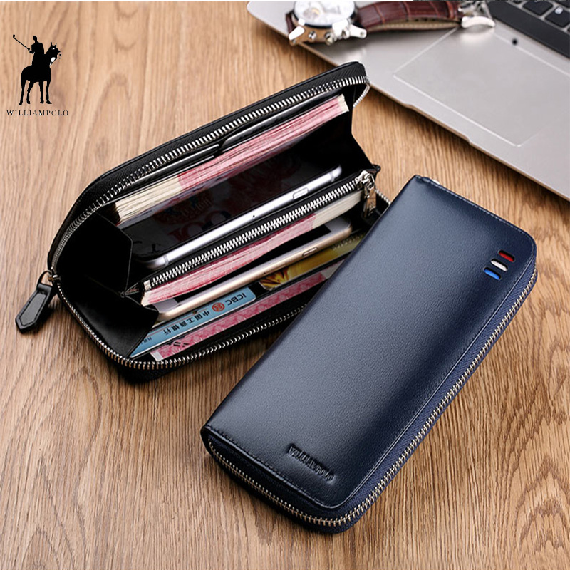 Men Wallet Genuine Leather Long Zipper Clutch Wallet Blue Black Phone Bag Fashion Card Holder Purse Original Cowskin PL273Men Wallet Genuine Leather Long Zipper Clutch Wallet Blue Black Phone Bag Fashion Card Holder Purse Original Cowskin PL273