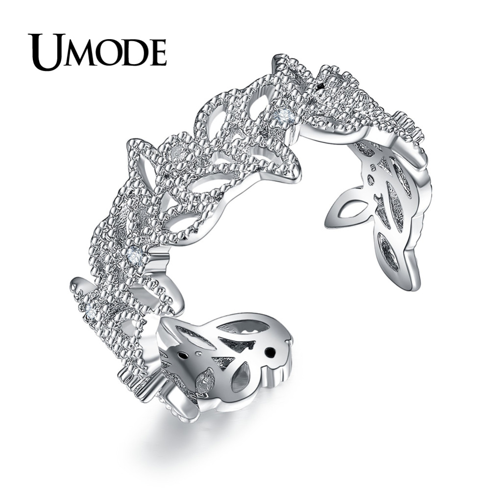 UMODE Brand New Collection Luxury Olive Leaf Design Open Rings for - Fashion Jewelry
