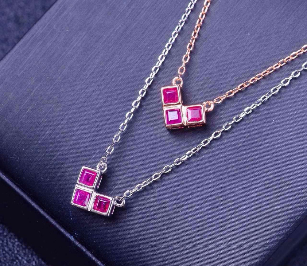 Natural red ruby stone Necklace natural gemstone Pendant Necklace S925 silver trendy Square Triangle party fine wedding Jewelry triangle fringed paillette pendant necklace