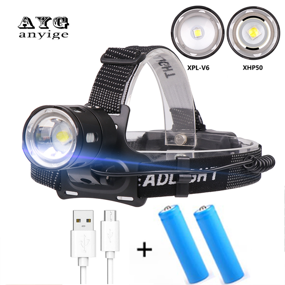 ANYIGE Headlight XHP 50 LED Headlamp XPL V6 Head Lamp Fishing Zoomable Bicycle USB Flashlight Torch Lantern For Camping Lighting