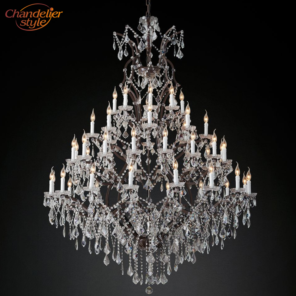 Image 5 - 19th C. Rococo Iron & Crystal Round Chandelier Lighting Modern LED Chandeliers Pendant Lamp Hanging Light for Living Dining Room-in Chandeliers from Lights & Lighting