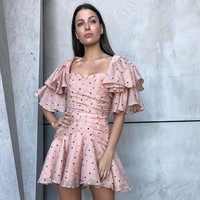 Runway Dress 2019 Women Sexy V Neck Butterfly Sleeve Dot Printed Ruffles Chiffon Holiday beach Mini Dress