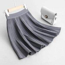 Pleated Skirt Women Autumn Women's Pleated Skirt Plus Size Women High Waist Elastic Mini Skirts Elegant Women Midi Skirts Faldas