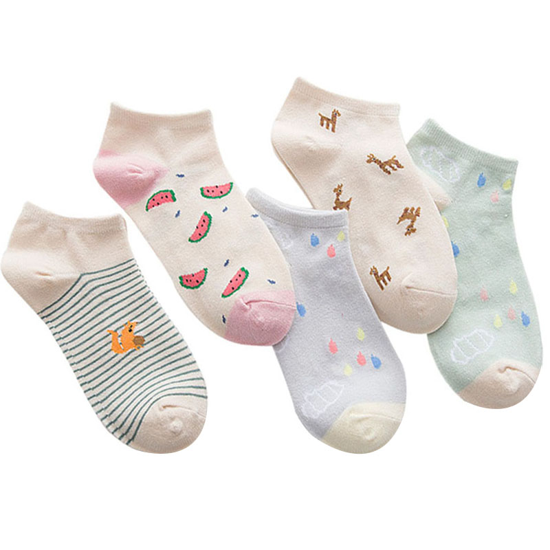5pairs Women Ankle   Socks   Cute Animals Fruits Striped Fun Funny Simple Girls   Socks   Summer Autumn Comfort Cotton Women   Sock   Meias