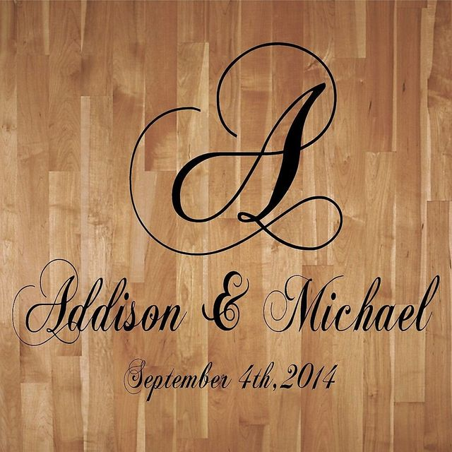 C172 wedding monogram dance floor decal reception vinyl wall decal lettering decor