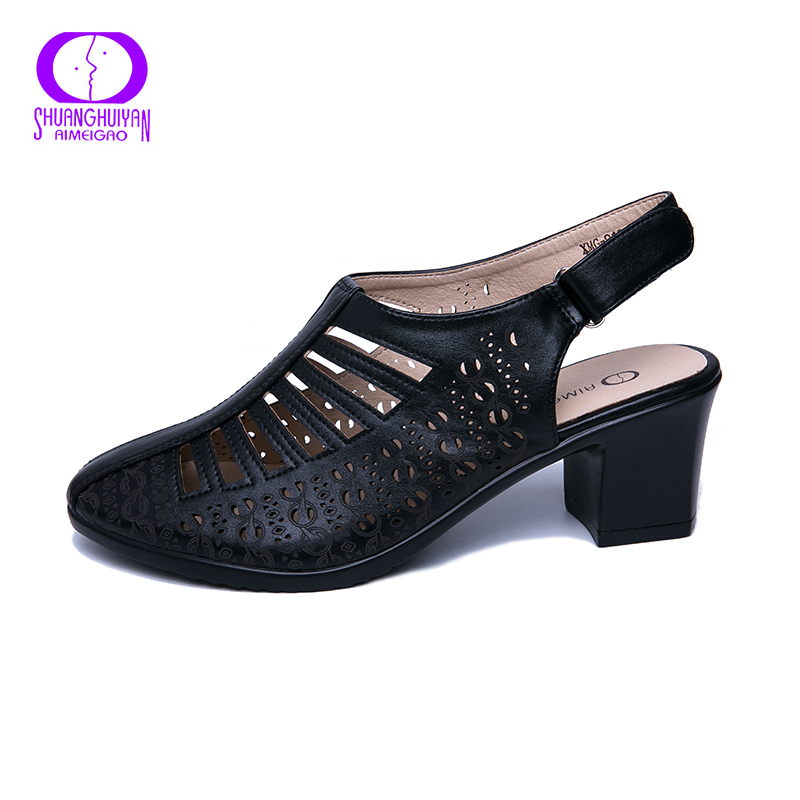 Image 2 - AIMEIGAO 2019 New Women Gladiator Sandals Summer Shoes Black Color Comfortable Heels Women Shoes Hollow out ShoesHigh Heels   -