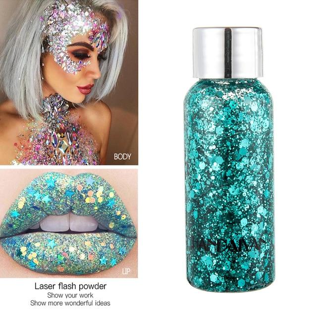 Eye Face Glitter Makeup Nail Hair Glitter Gel Flash Heart Loose Sequins Cream Body Glitter Decoration For Festival Party TSLM2