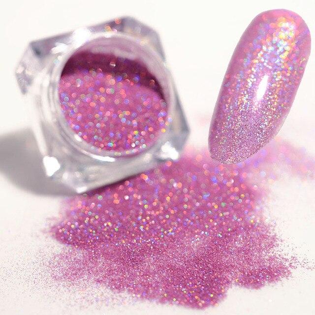 Laser Nail Glitter Powder Ultra thin Shining Pink Blue Grey Glitters  Used With UV Gel Polish