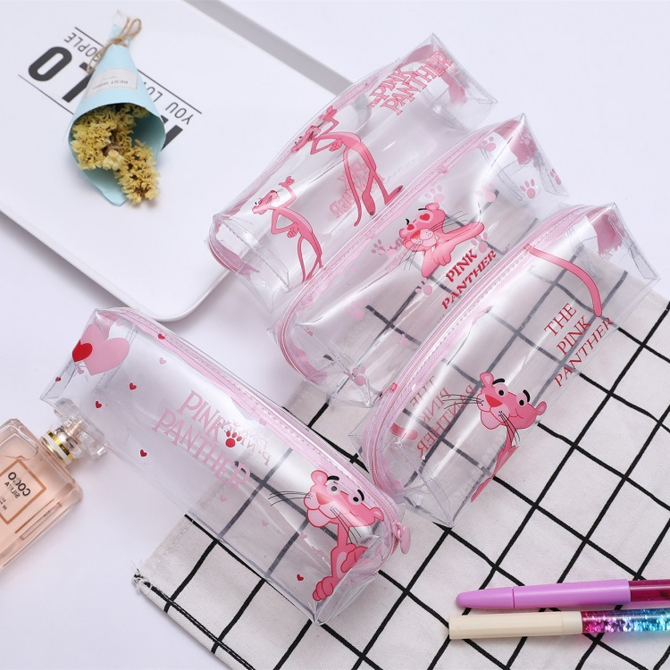 Kawaii Pink Panther Pencil Case Cute Transparent Pen Bags Clear Pencil Pouch Makeup Bag For Girls Stationery School Supplies