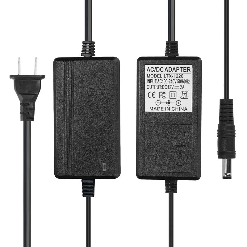5pcs DC <font><b>12V</b></font> 2A <font><b>Power</b></font> <font><b>Adapter</b></font> Supply <font><b>12V</b></font> <font><b>2000mA</b></font> AC <font><b>Adapter</b></font> US Plug For 5050 LED Strip Lighting Display Security CCTV Camera image