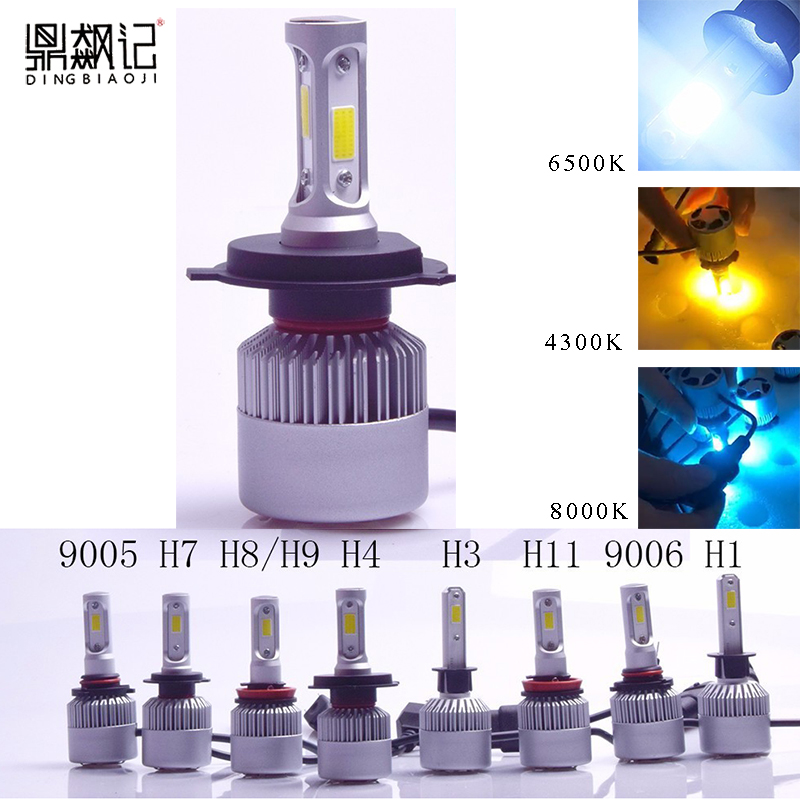 S2 H4 H7 H11 H1 9005 9006 H3 H8 COB LED Del Faro 72 W/Pair 8000LM/Pair Auto Fari lampadina Della Luce di Nebbia 4300 k 6500 k 8000 k
